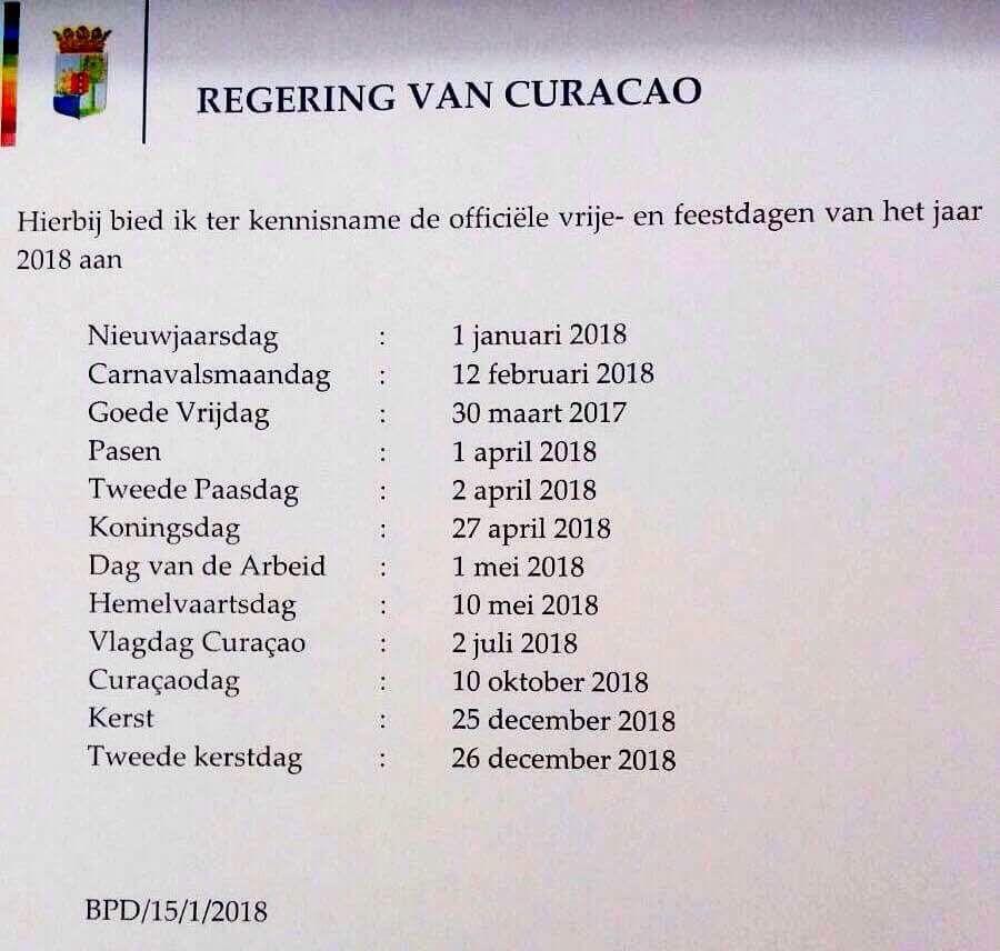 Calendario oficial de días feriados para el 2018
