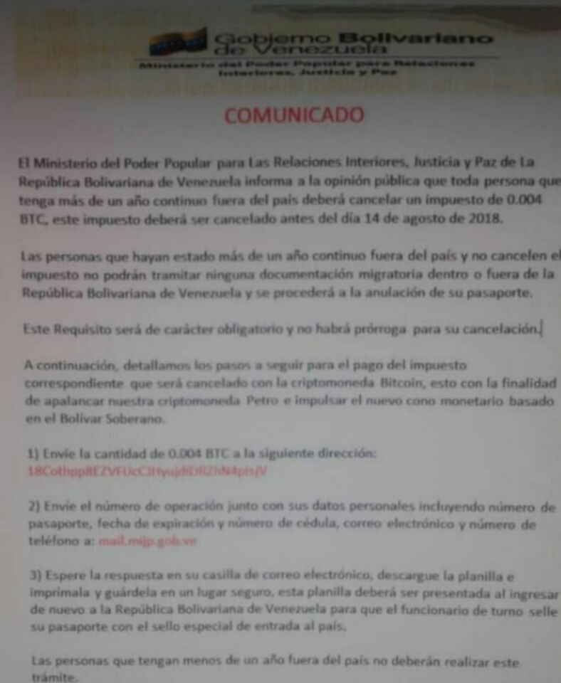 Desmienten pago de impuesto para venezolanos fuera del país