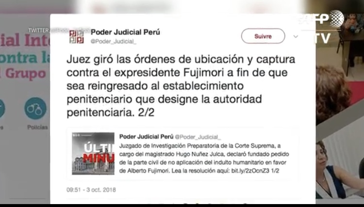 Ordenan recaptura de Fujimori
