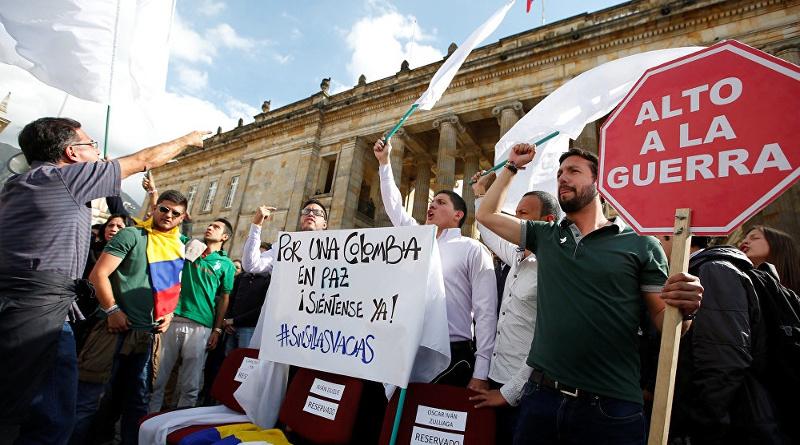 Manifestaciones en Bogotá a favor del acuerdo de paz