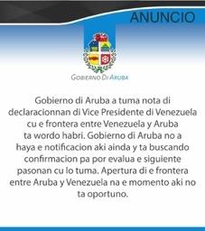 Aruba no considera prudente reabrir frontera con Venezuela