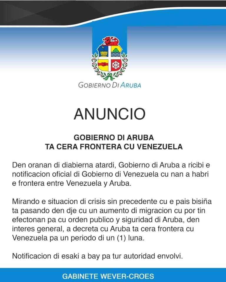 COMUNICADO | Gobierno de Aruba cierra fronteras con Venezuela