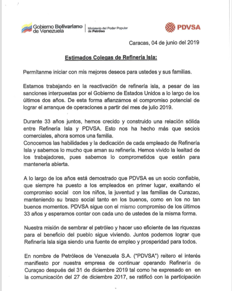 CARTA A TRABAJADORES DE REFINERÍA ISLA