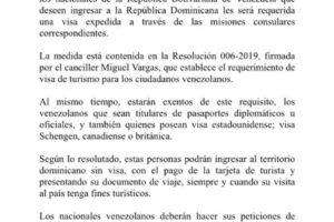 República Dominicana exigirá visa a turistas venezolanos
