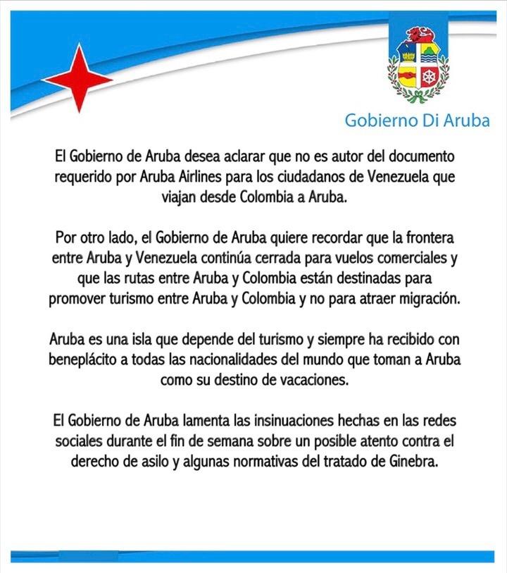 Aruba: Declaración jurada que pide aerolínea a venezolanos no es nuestra