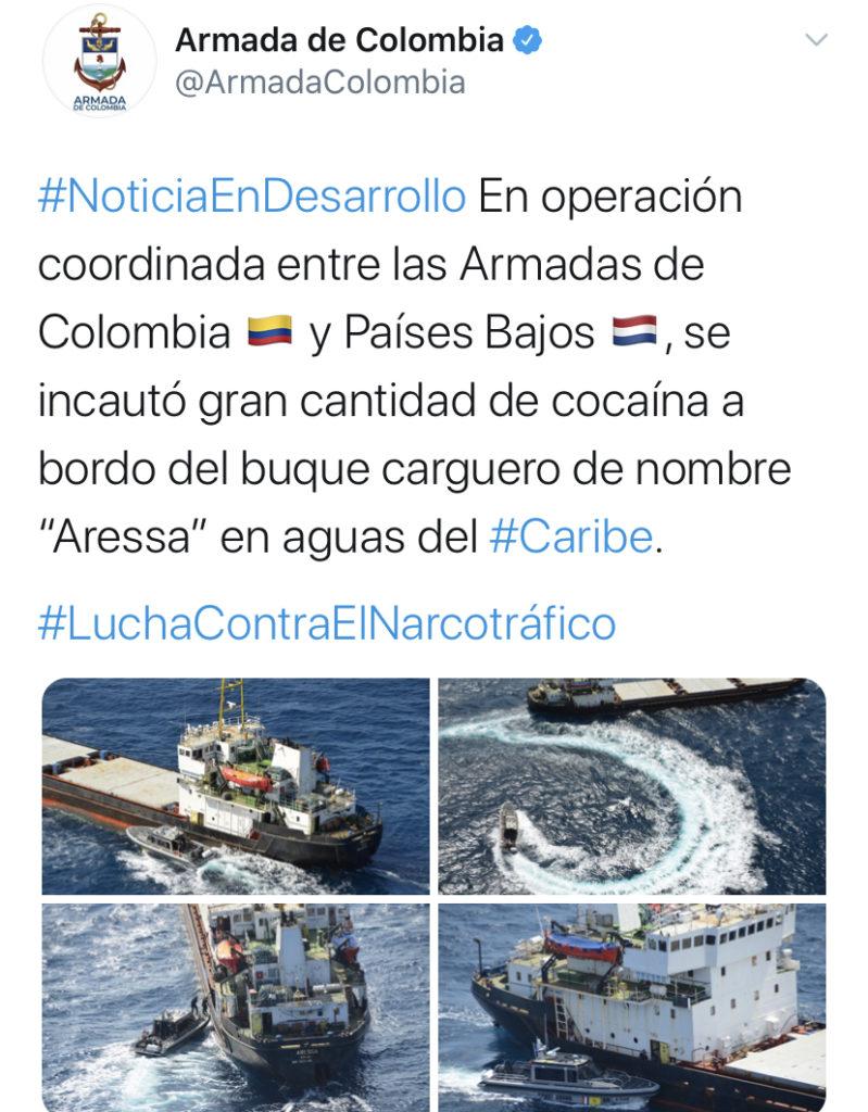 Armada Colombiana confirmó decomiso de droga en Aruba