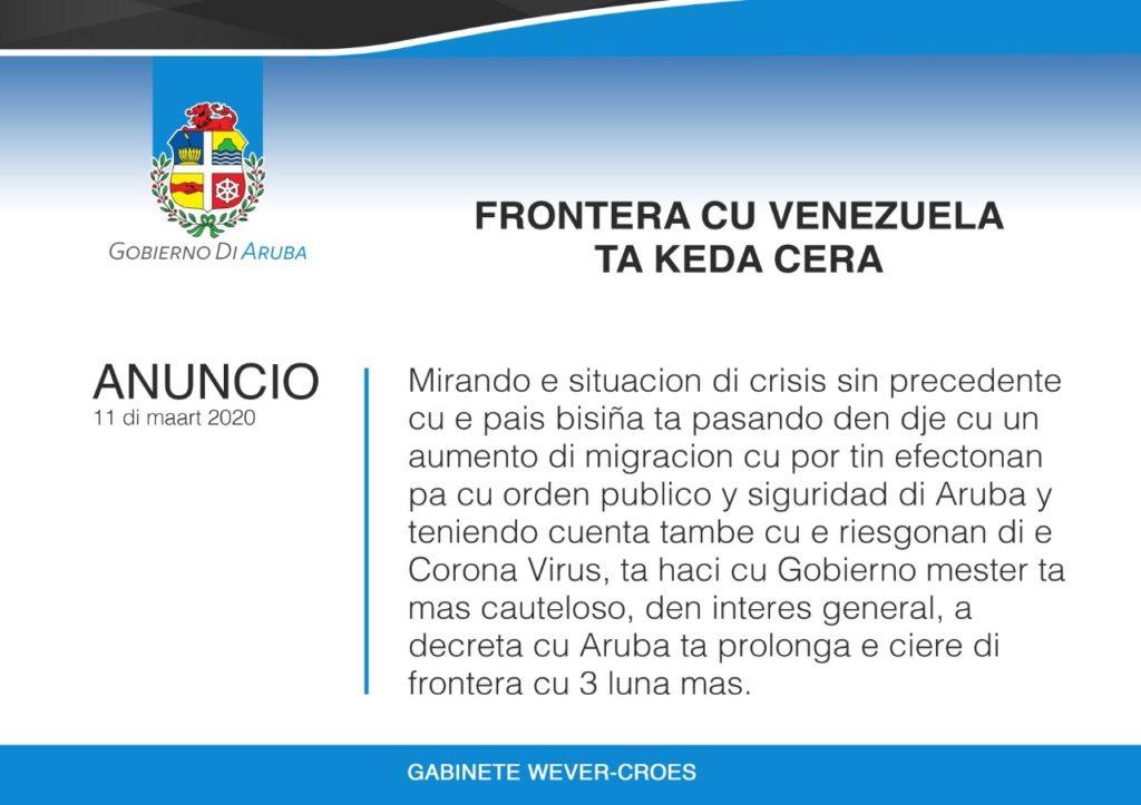 Aruba mantendrá cierre de fronteras con Venezuela